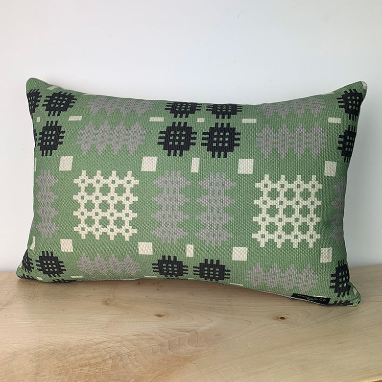 Welsh blanket print cushion - rectangle, green