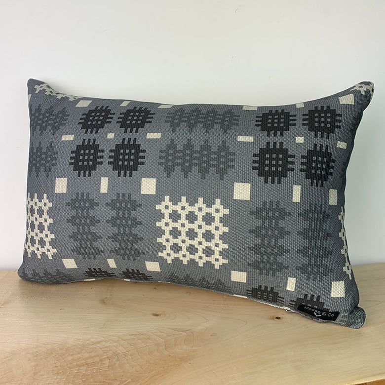 Welsh blanket print cushion - rectangle, grey
