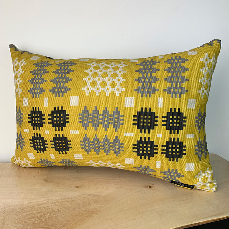 Welsh blanket print cushion - rectangle, mustard
