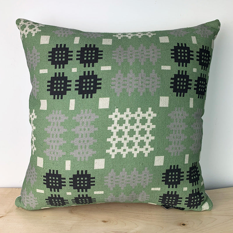 Welsh blanket print cushion - square, green