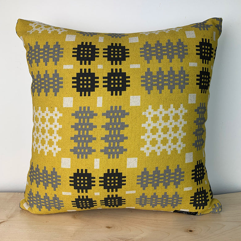 Welsh blanket print cushion - square, mustard