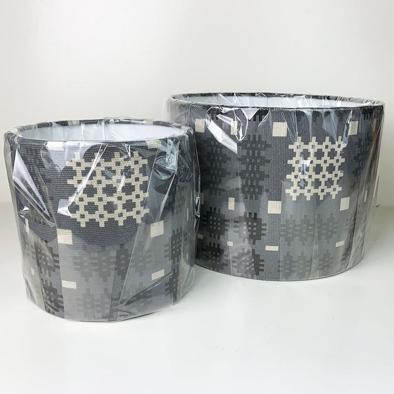 Welsh blanket print lampshade - grey