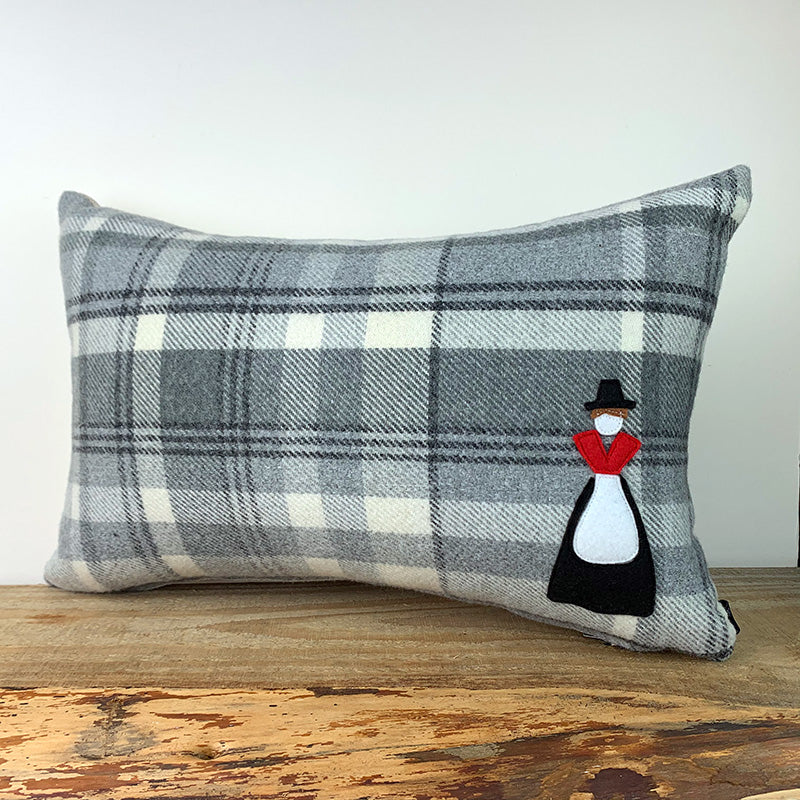Welsh lady motif cushion - grey