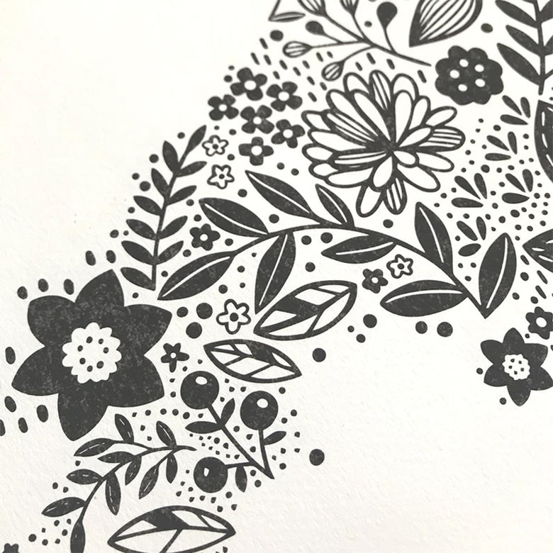Wales in bloom print - charcoal