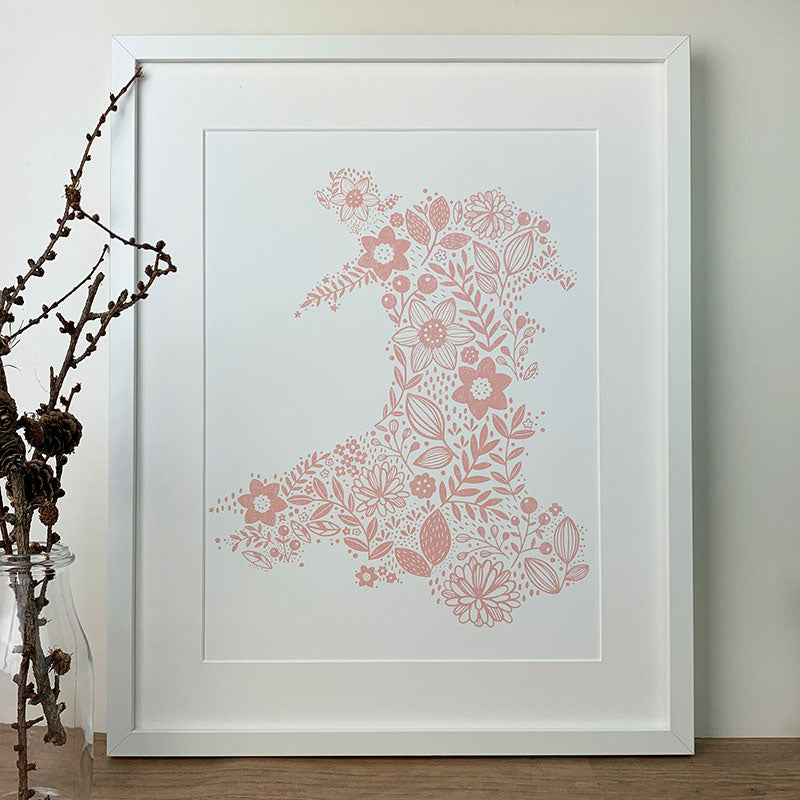 Wales in bloom print - pink