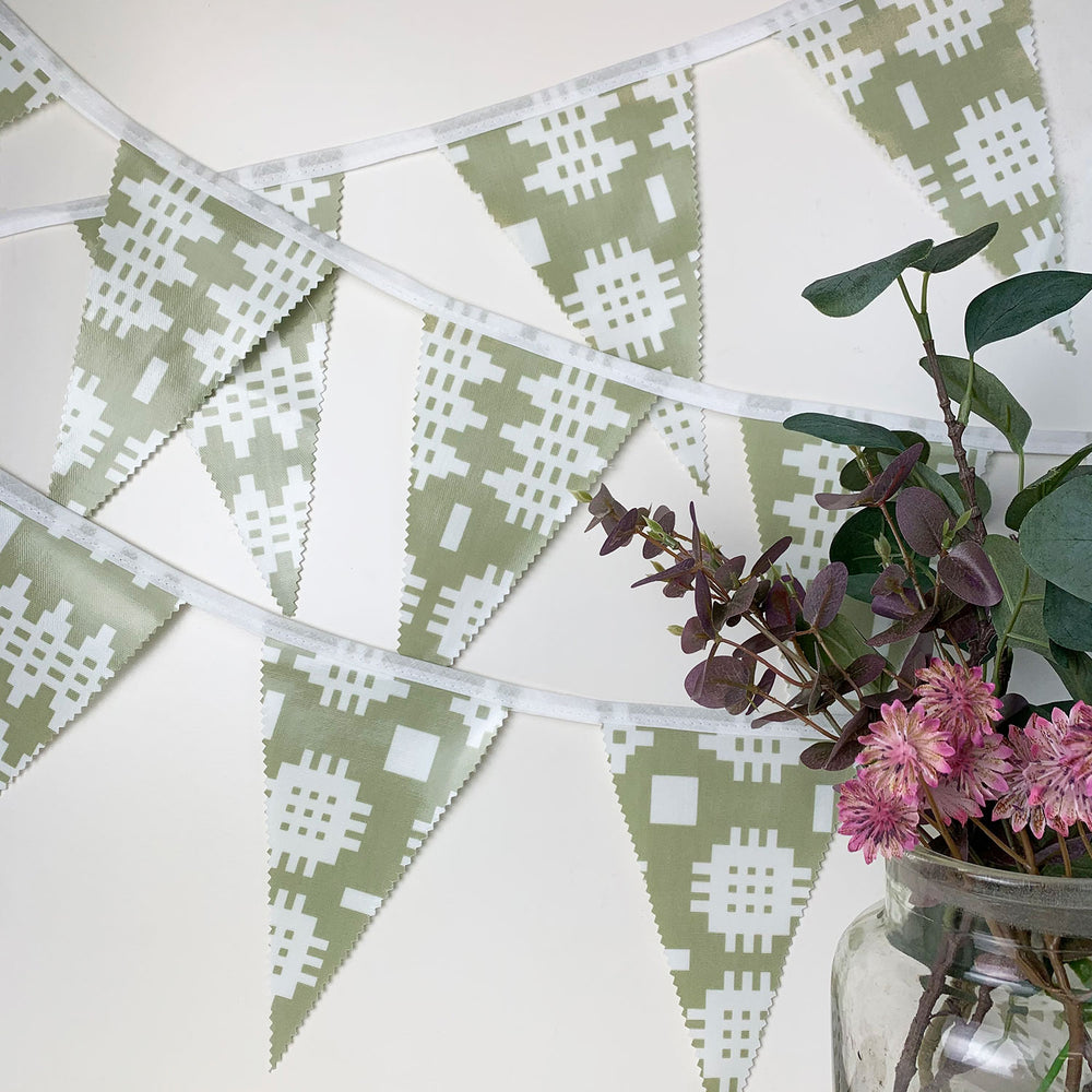 Welsh oilcloth bunting - green