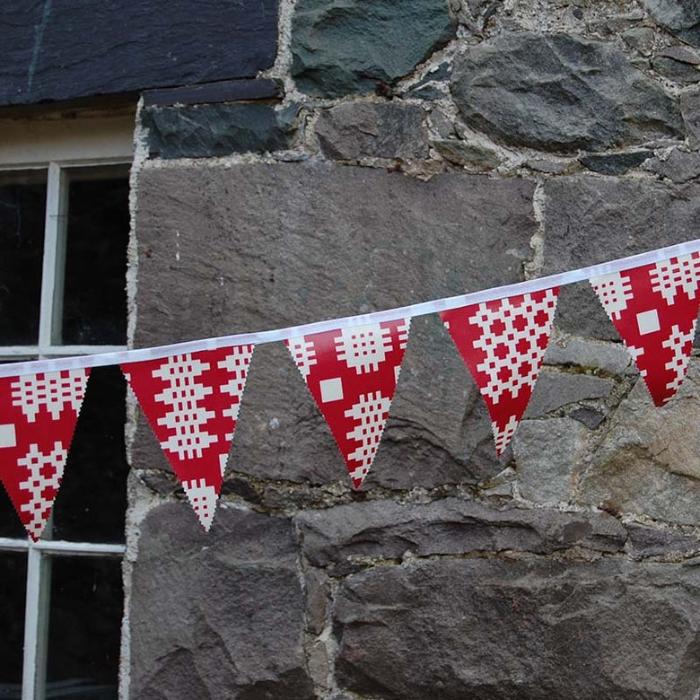 Welsh oilcloth bunting - red
