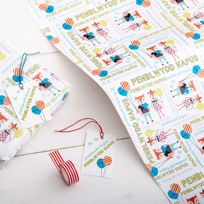 Birthday wrap and tag set - fox