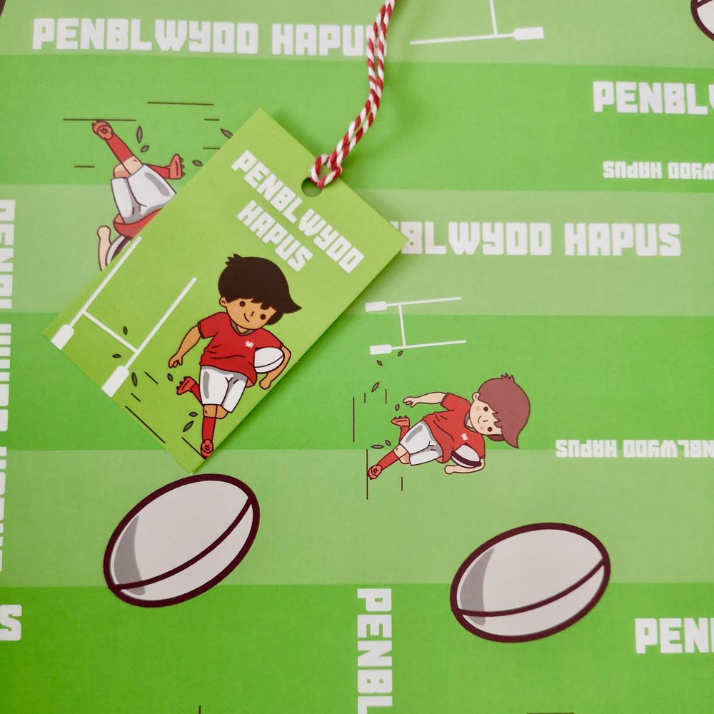 Birthday wrap and tag set - rugby