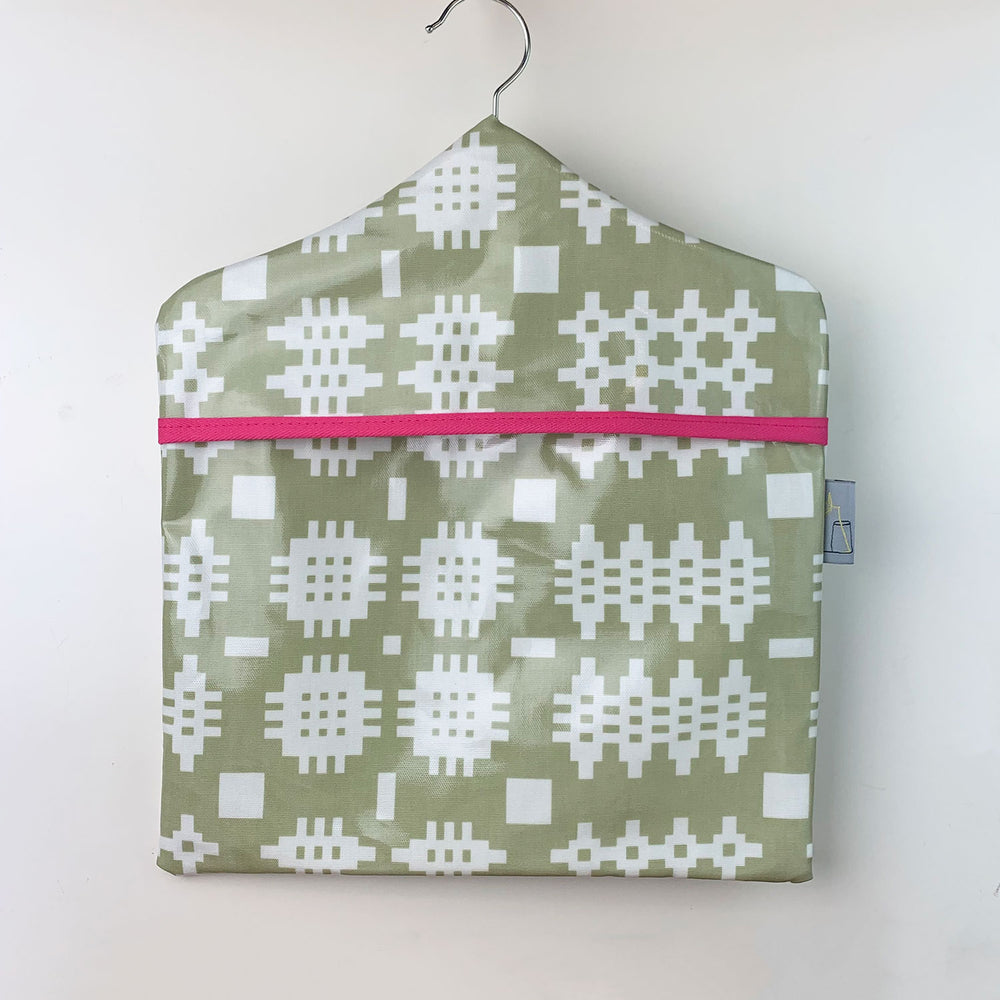 Welsh blanket print peg bag - green