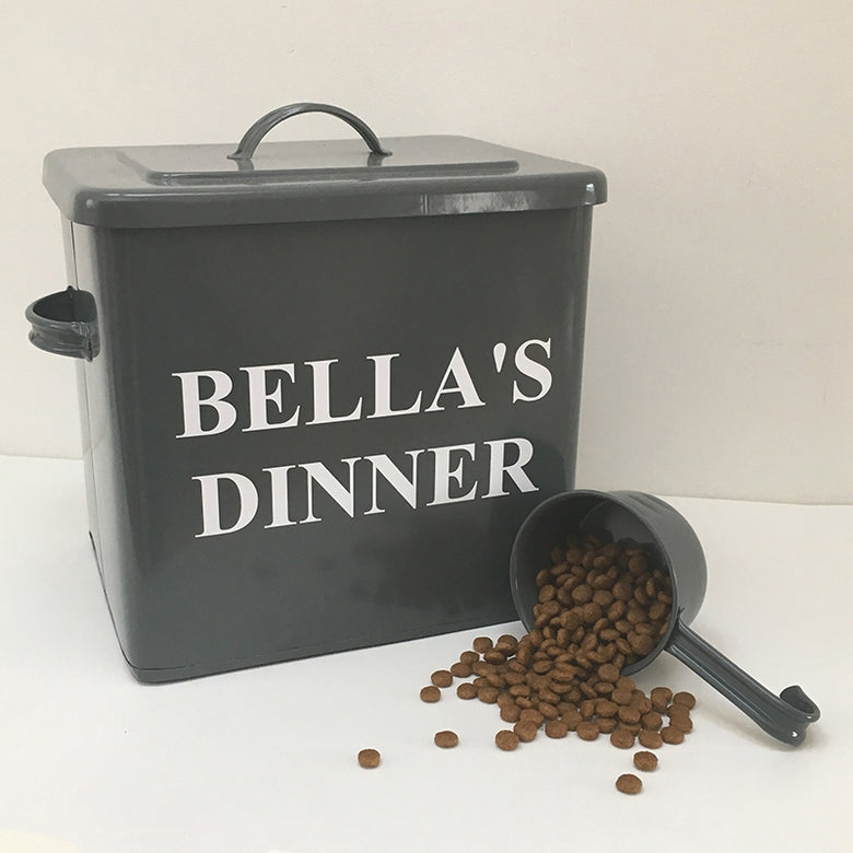 Grey personalised pet food storage tin