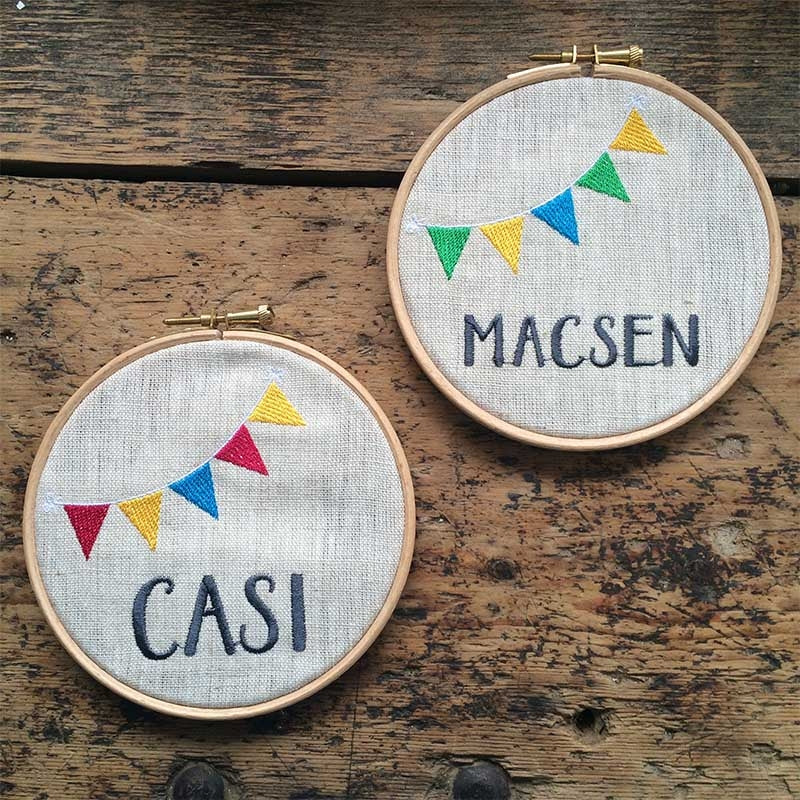 Personalised girls' embroidery hoop