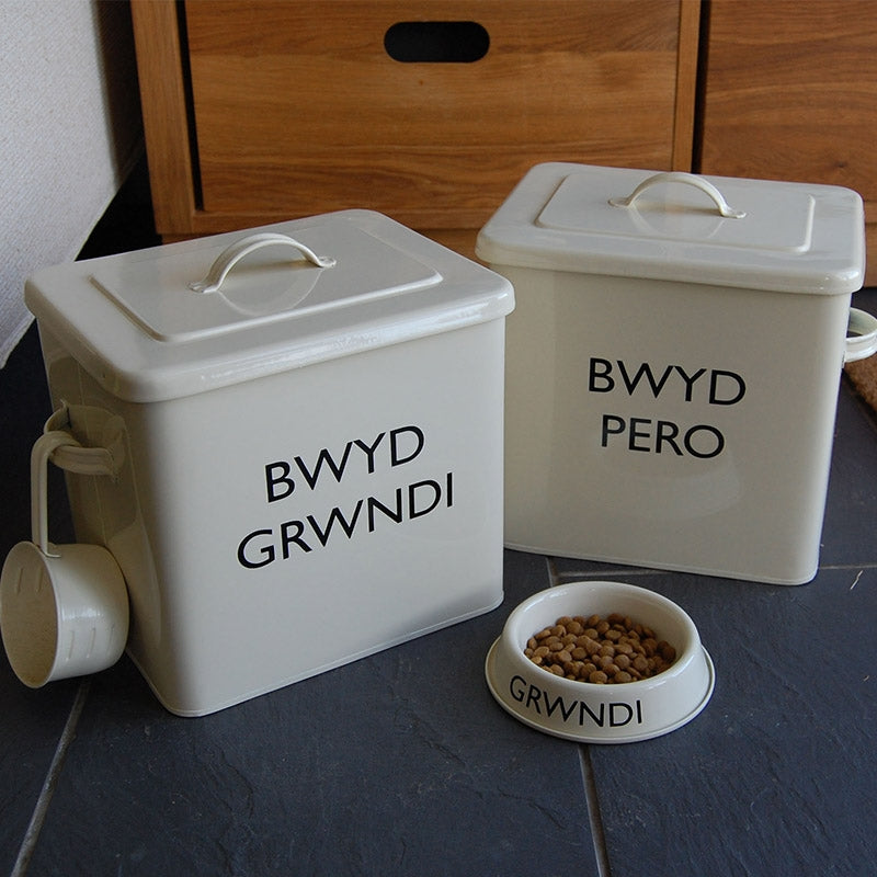 Cream personalised Welsh pet food storage tin