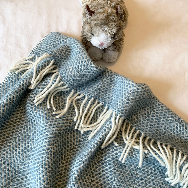 Welsh wool pram blanket - petrol