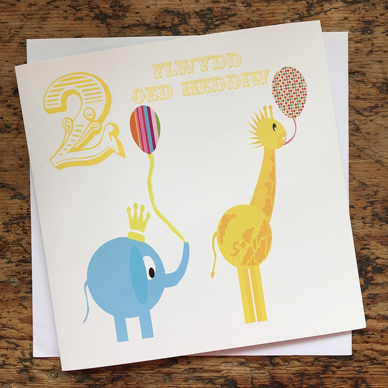 Welsh '2 today' birthday card