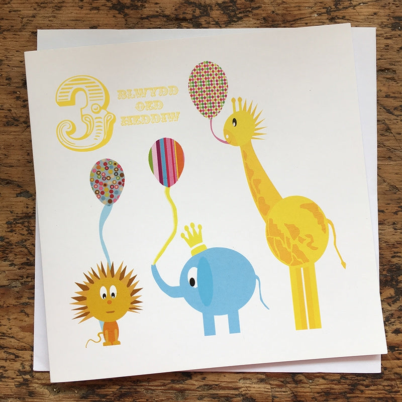 Welsh '3 today' birthday card