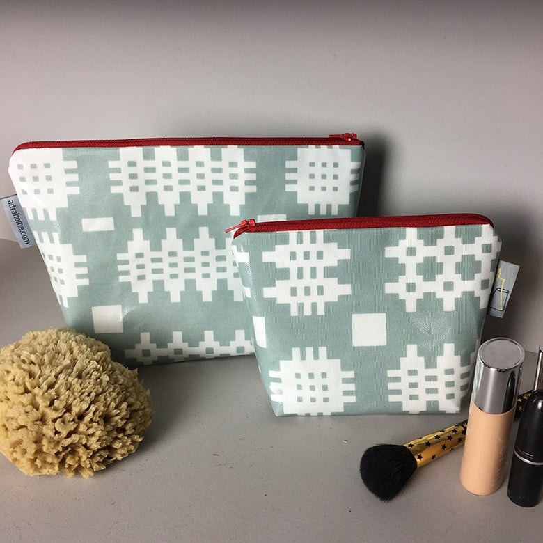 Welsh oilcloth make-up bag, duck egg blue