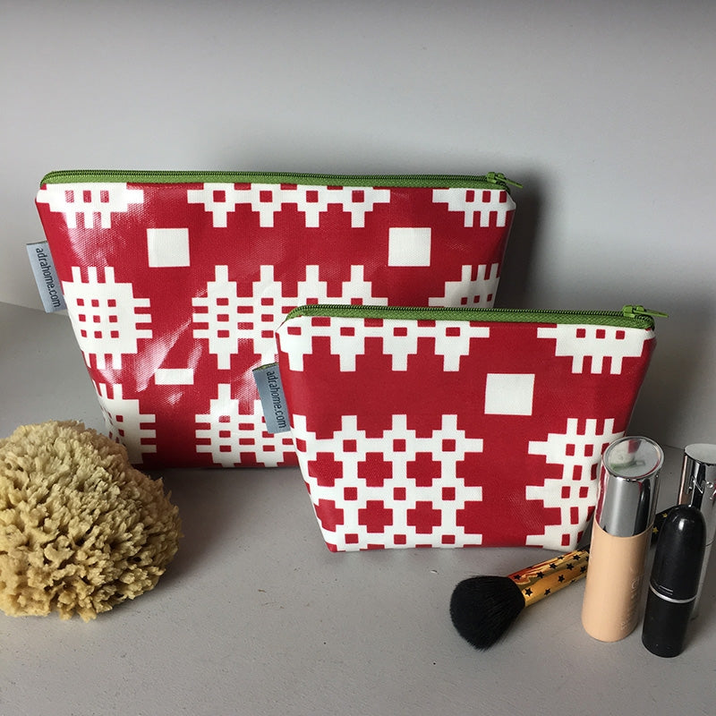 Welsh oilcloth wash bag, red