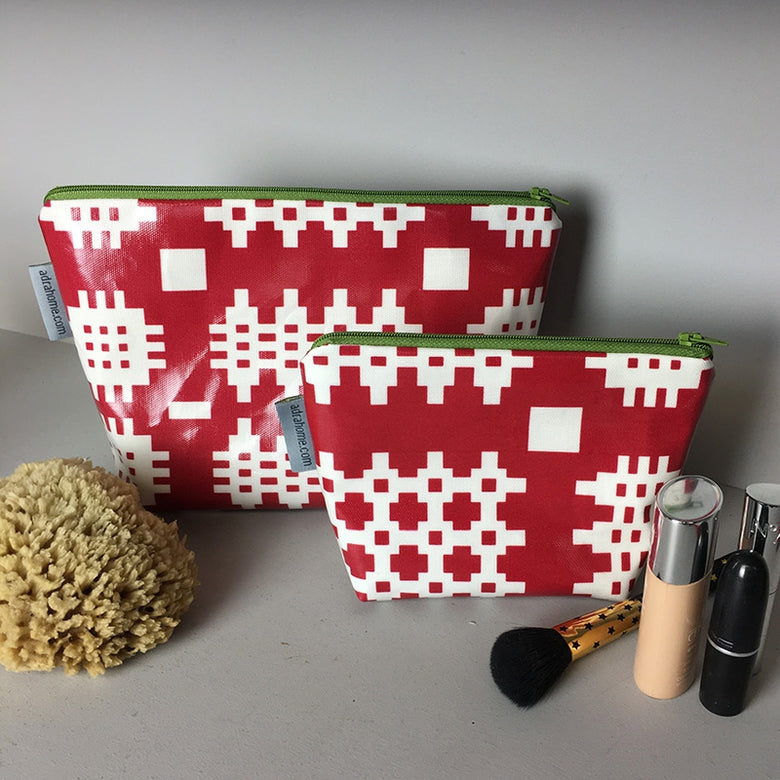 Welsh oilcloth make-up bag, red