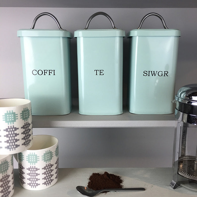 Welsh tea, coffee, sugar tins - duck egg blue