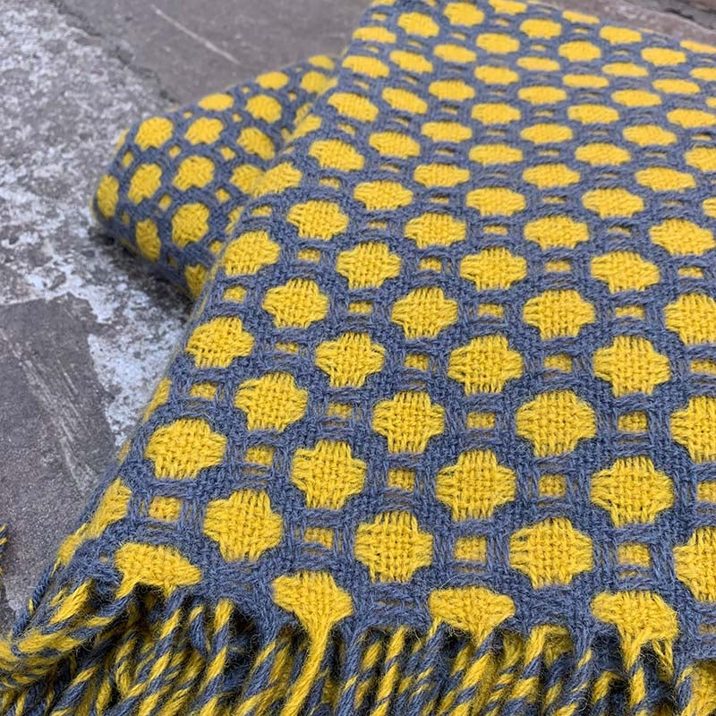 Welsh wool crossroads throw - grey and yellow