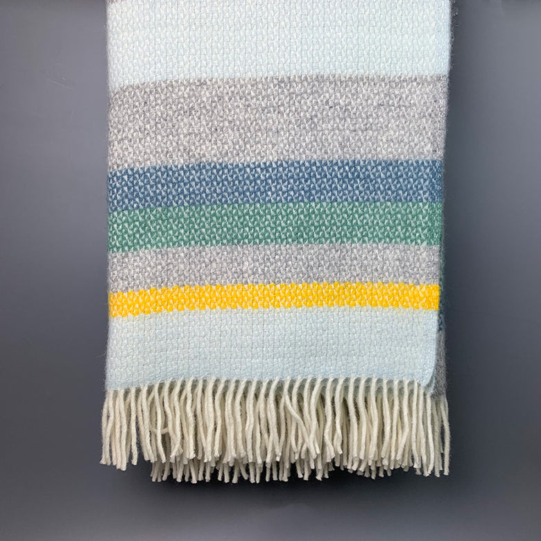 Wool illusion stripe Welsh throw - horizon
