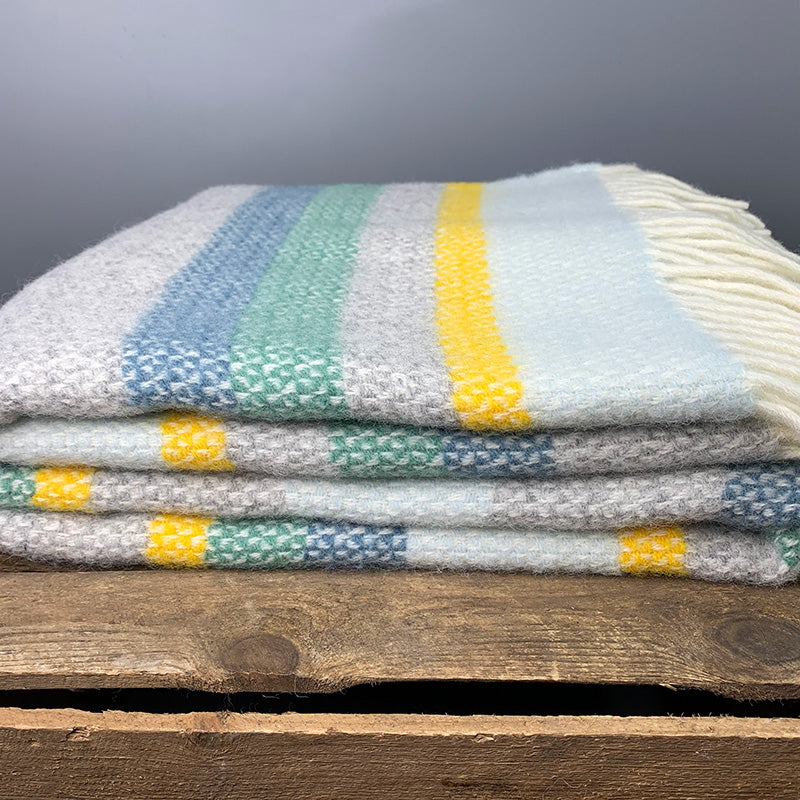 Welsh wool illusion stripe throw - horizon
