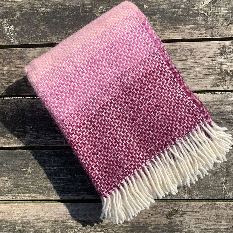 Wool Ombre Welsh Throw - rosewood