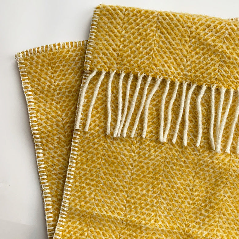 Welsh wool pram blanket - yellow