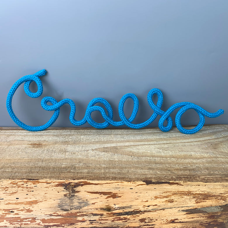 Knitted wire word - Croeso