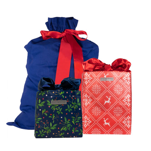 Red, Blue, Green, & White solid colored and Wintery design Eco-Friendly Gift Bags and Gift Sacks Bundle and Save - EverWrap