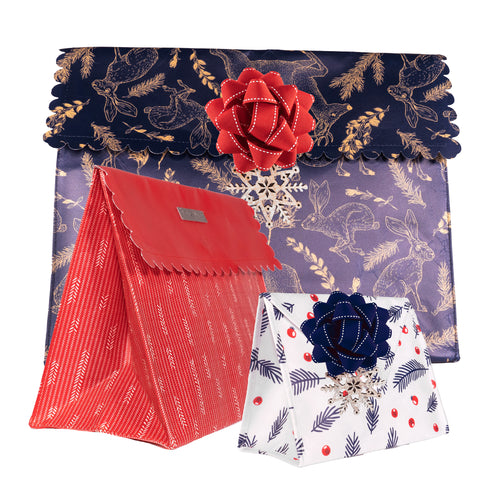 Navy Blue & Gold, Red & White Wintry prints with Woodland Animlas , Feathers and Berries are the perfect Gift Bag for Fall and Winter Celebrations - EverWrap