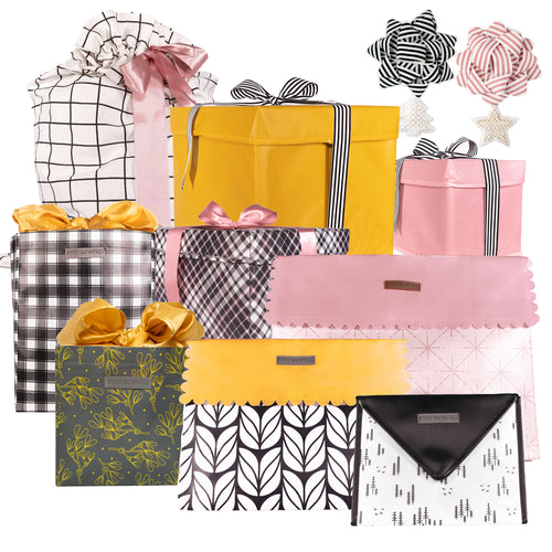 12-piece Extra Strong Reusable Gift Wrap Collection in Pink Gold and Black, make your Christmas Zero-Waste and sustainable with reusable gift wrap that collapses and stores for use year after year - EverWrap