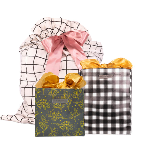 Grey, Gold, Pink, Black & White Buffalo Checked all occasion designed sustainable Gift Bags and Gift Sacks Bundle and Save - EverWrap