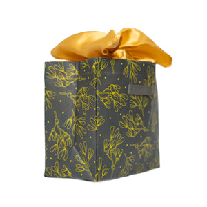 IRREGULAR - Grey and Gold Floral Print Small Reusable Gift Bag with Gold Satin Bow Collapsible Bag Heavy Duty for Zero Waste Reusability For Every Holiday - EverWrap