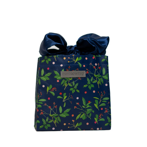 Blue Reusable gift bag, Berry and Green Foliage with Royal Blue Satin Bow makes storing and reusing this gift bag an easy sustainable zero-waste choice - EverWrap
