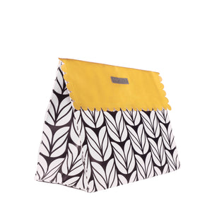 Medium black and white with yellow flap reusable gift bag with magnet closure and scalloped, heavy duty for maximum reusability zero waste gift bag - EverWrap