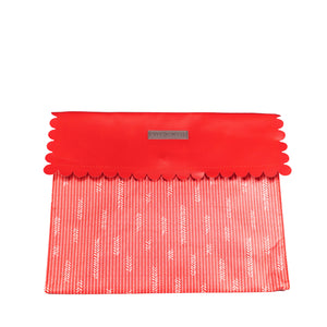 IRREGULAR - Medium Red Reusable gift bag with magnet closure and scalloped, heavy duty for maximum reusability - EverWrap