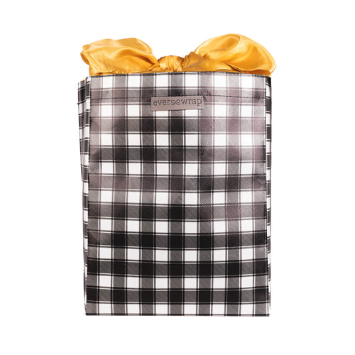 Black and White Buffalo Check with Gold Satin Bow, fold, store, and reseal with our reusable gift bag, satin closure makes for an eco-friendly gift bag - EverWrap