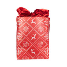 Load image into Gallery viewer, Holiday Red with Wintry Knitted Sweater Design fold, store, and reseal with our reusable gift bag, satin closure makes for an eco-friendly gift bag - EverWrap