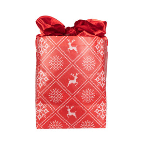 IRREGULAR - Holiday Red with Wintry Knitted Sweater Design fold, store, and reseal with our reusable gift bag, satin closure makes for an eco-friendly gift bag - EverWrap