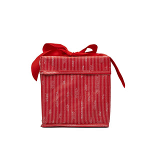 "Small Red 8"" Collapsible Gift Box with satin ribbon attached, great zero waste solution for sustainable and eco-friendly gift boxes - EverWrap"