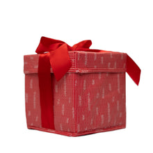 "Load image into Gallery viewer, Small Red 8"" Collapsible Gift Box with satin ribbon attached, great zero waste solution for sustainable and eco-friendly gift boxes - EverWrap"