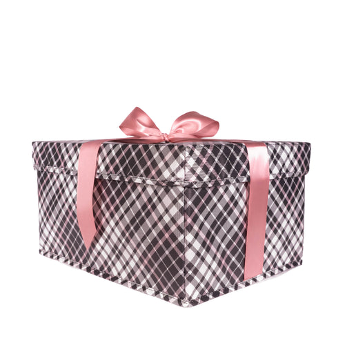 Medium Heavy-Duty Extra Strong pink and grey plaid collapsible gift box with satin ribbon attached, great zero waste solution for sustainable and eco-friendly gift boxes - EverWrap