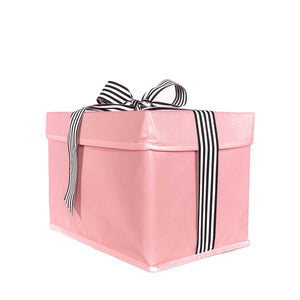 Small shoebox sized pink collapsible gift box with black and white grosgrain ribbon attached, great zero waste solution for sustainable and eco-friendly gift boxes - EverWrap