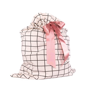 "White with Black Grid Pattern Cotton Sleigh Bag 27"" tall with satin closure, reusable wrapping for larger gifts - EverWrap"