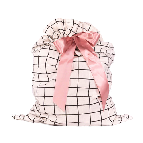 White with Black Grid Pattern Cotton Sleigh Bag 27