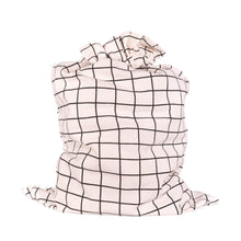 "Load image into Gallery viewer, White with Black Grid Pattern Cotton Sleigh Bag 27"" tall with satin closure, reusable wrapping for larger gifts - EverWrap"