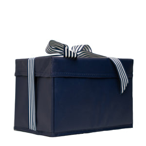Navy Blue, Red, and Plaid designed reusable gift box self closing with Satin and Grossgrain Ribbon crafted with Non-Woven Laminate for long lasting use - EverWrap