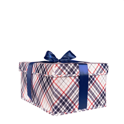 Medium blue and red plaid collapsible gift box with satin ribbon attached, great zero waste solution for sustainable and eco-friendly gift boxes - EverWrap